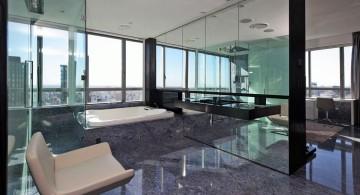 modern glass shower penthouse