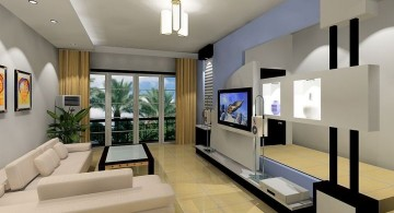 modern minimalist living room in white
