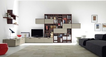 modern minimalist living room with floating shelf
