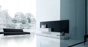 modern minimalist living room with glass wall