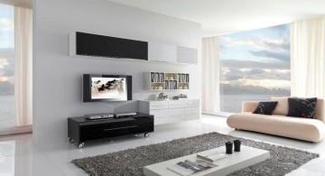modern minimalist living room with grey rug