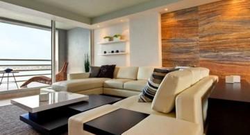 modern minimalist living room with wood wall panel