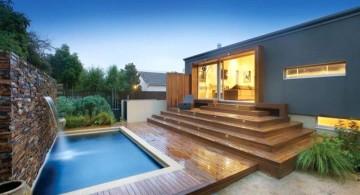 modern stone wall pool waterfall ideas