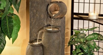 modern water features with stone desi