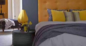 modern yellow gray bedroom