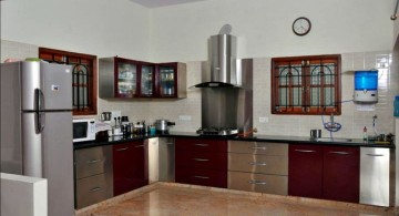 modular kitchen in dark chocolate