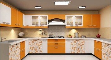 modular kitchen in patterned yellow