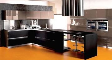 modular kitchen in piano black