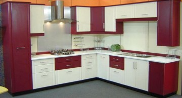 modular kitchen in white and purple