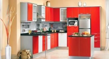 modular kitchen in with floor vase