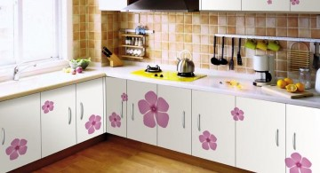 modular kitchen with flower pattern