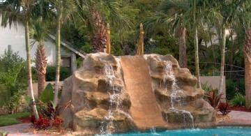 pools with waterfalls separated by a slide