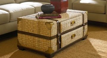 rattan trunk coffee table