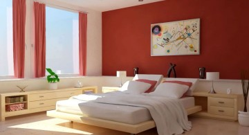 red bedroom walls with white furniture
