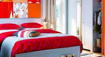 retro bedroom ideas with bright and colorful wall panel