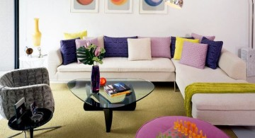 retro modern decor with L shaped sofa