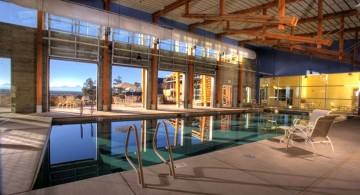 rustic country club indoor lap pool