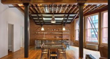 rustic criss crossed exposed beam ceiling