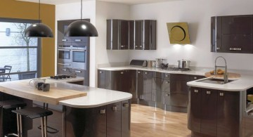 shiny modular kitchen in espresso