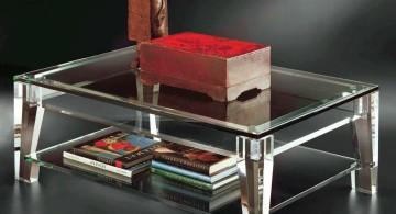 simple acrylic cocktail table with a shelf underneath