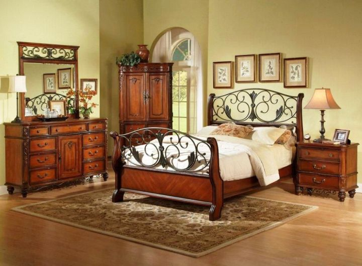 King Bedroom Sets Rustic Wood Headboard