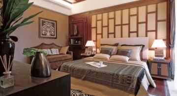 simple asian inspired bedroom with paper door wall panel