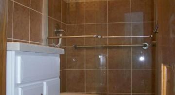 simple brown bathrooms