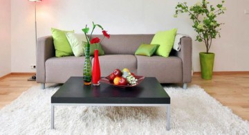 simple living room idea with monochrome coffee table and fluffy rug