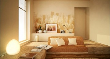 simple living room in cream and beige with wall painting