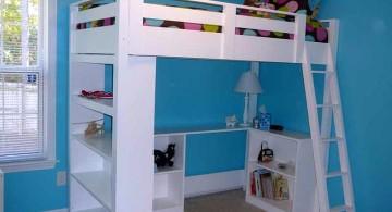 simple minimalist white loft bed with desk