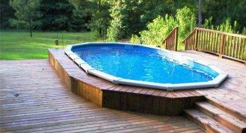 simple small pool ideas with wooden deck