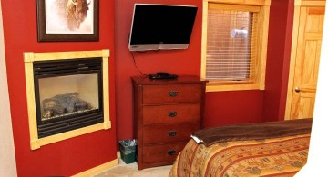 small built in gass fireplace bedroom