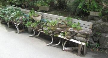 small rock garden designs using the bench