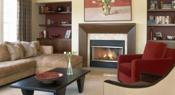 small sitting room ideas with red sofa accent