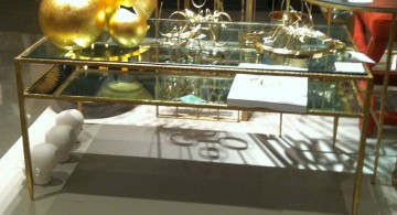 square lucite coffee table with brass lining
