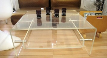 square lucite coffee table with floating shelf inside