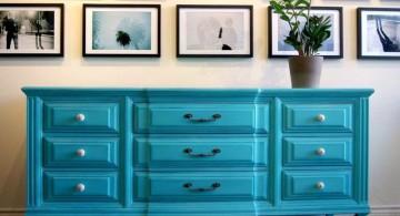 turquoise living room decor credenza