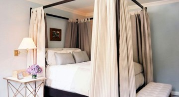 two toned canopied modern four poster bed