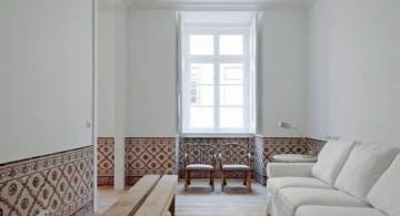 very minimalist long living room