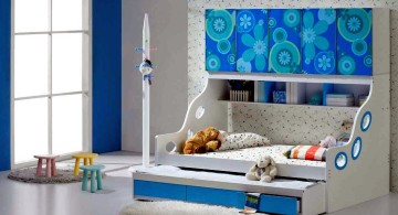 wall mounted unique trundle beds in blue