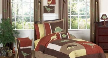 warm colors Dinosaur themed bedroom