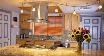waved track lighting ideas above kitchen island