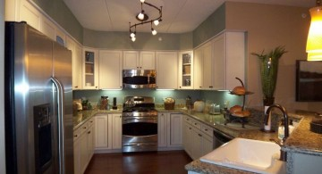 waved track lighting ideas for small kitchen