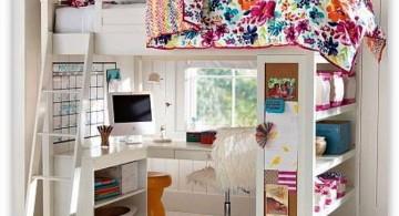white loft bed with desk for loft bedrooms