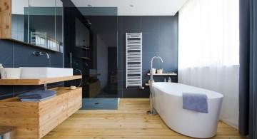 wood bathroom with black tile wall