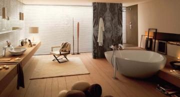 wood bathroom with floating wood vanity