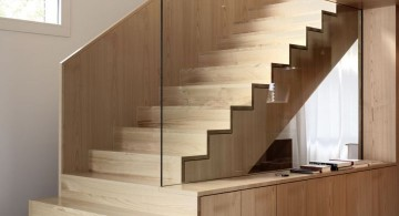 wood staircase with glass