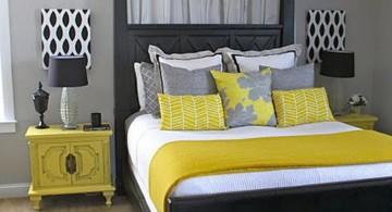 yellow gray bedroom with polkadot lamp shade