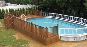 above ground wood pool deck