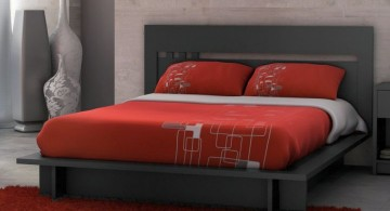 black and red bedroom ideas with floating bed